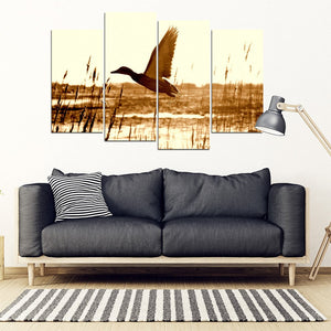 Duck Hunting 4 Piece Framed Canvas - Clicksstars