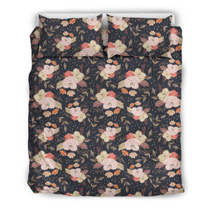 Autumn Fall Floral - Bedding Set (Black) - Clicksstars