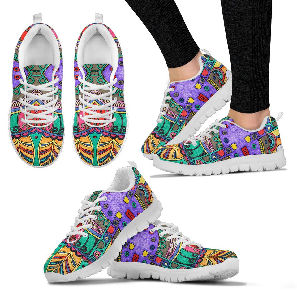 Colorful HandCrafted Artistic Mandala Sneakers. - Clicksstars