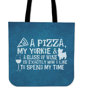 Pizza, Yorkie and Wine Totebag - Clicksstars
