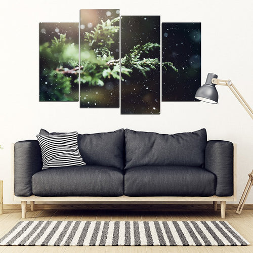Winter Forest Scene 4 Piece Framed Canvas - Clicksstars