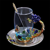 INDIGO CRYSTAL FLOWER GLASS WATER MUG & CUP SET - Clicksstars