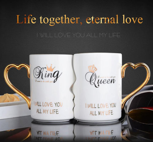 KISSING HIS AND HER PORCELAIN COFFEE MUG 2 PC SET - Clicksstars