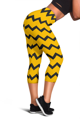 Black Zigzag Bee Pattern Capris Leggings - Clicksstars