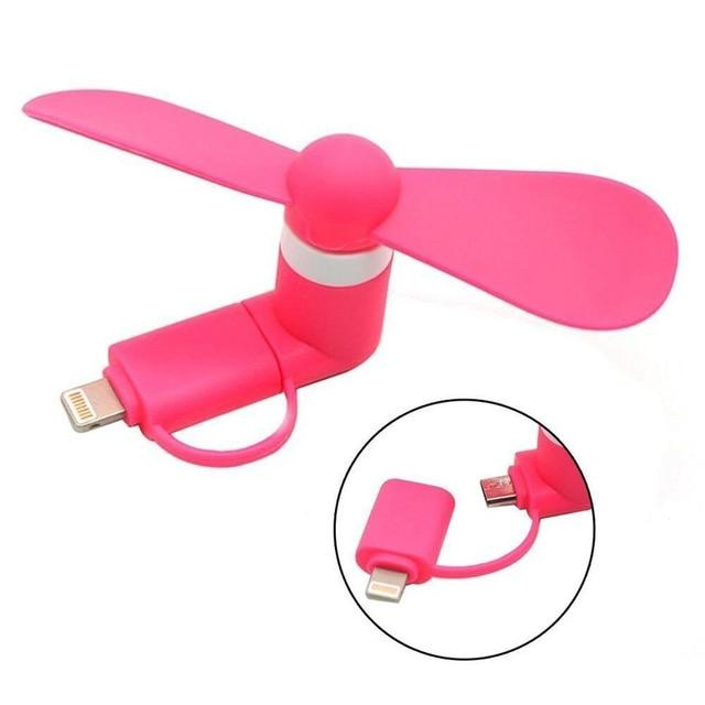 USB Gadget Cool Mini 2 in 1 USB Fan Portable For Android OTG Micro Gadgets For iPhone 5 6S 7 Plus 8 X XS XR Electronic Smart Fan