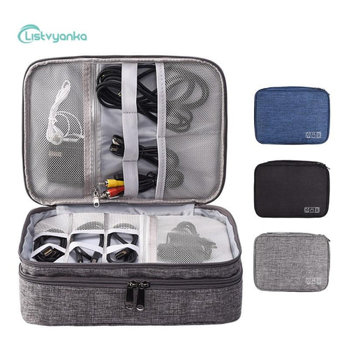 Cable Organizer Bag Cable Storage Bag Electronic Gadget Organizer Wires Charger Headphone Case Travel Accessories Digital Pouch