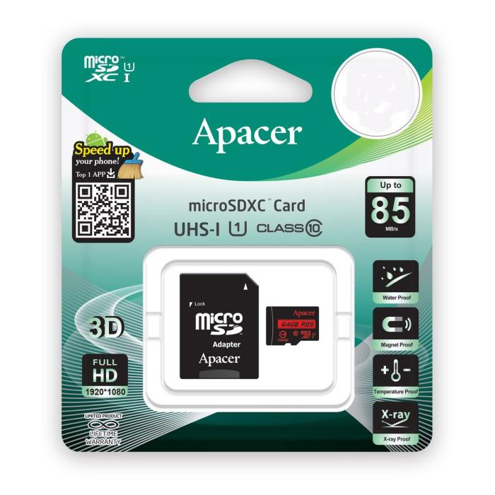 Apacer R85 Memory Card Micro SDHC UHS-I U1 Class10 16GB with Adapter Καρτα Μνημης 110137