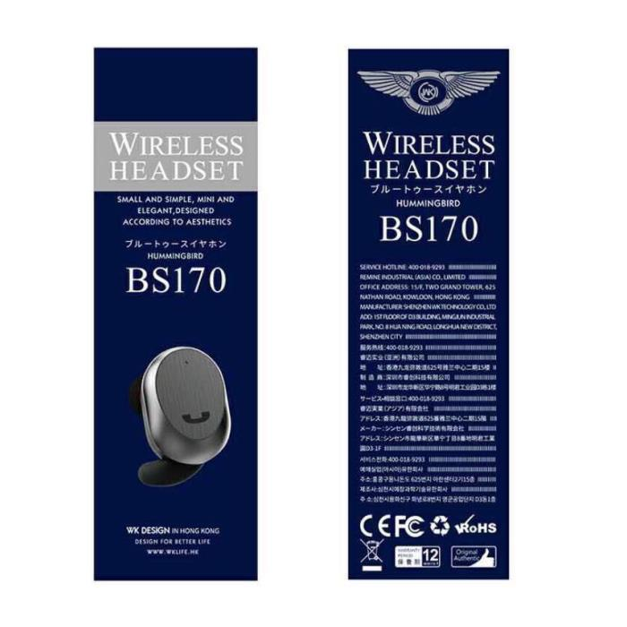 WK Handsfree BT BS-170 White Ακουστικό Bluetooth 250354