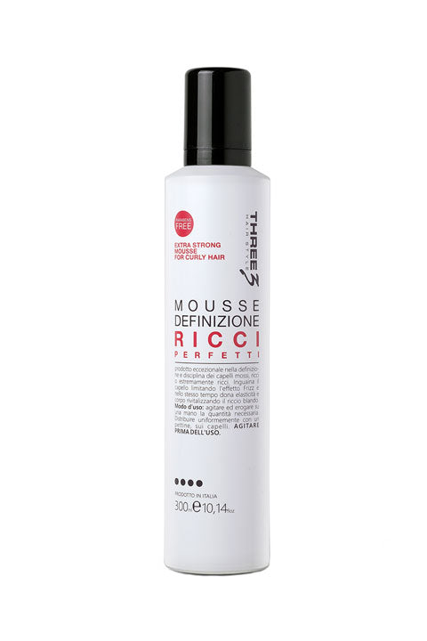 Faipa THREE3 Mousse Extra Strong Curly Hair 300ml Αφρός για Μπούκλες P.TRE-SMC-F08