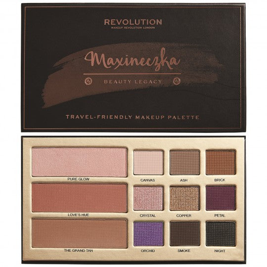Revolution Beauty  Beauty Legacy Palette by Maxineczka - Παλέτα για μάτια & ζυγωματικά (eyeshadow: 9 x 1,2g - Highlighter: 3g - Blush: 3g - Contour: 3g)