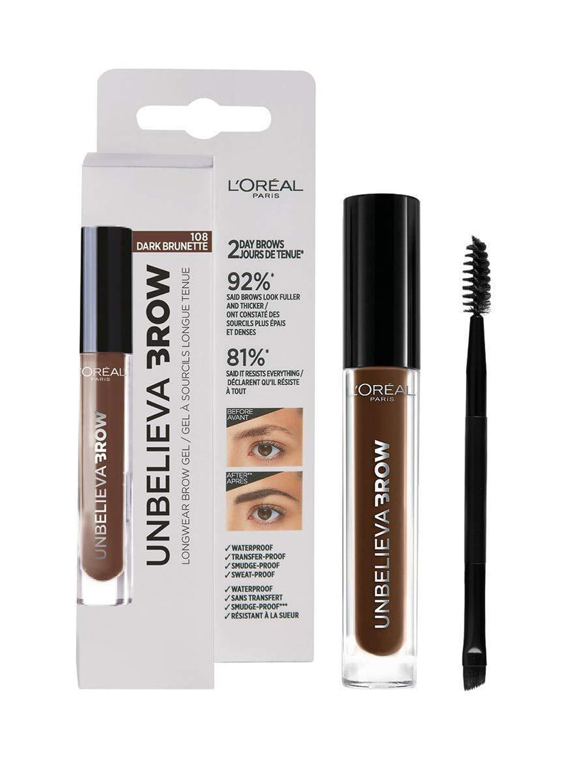L'Oreal Paris Unbelievabrow Gel Φρυδιών Μακράς Διάρκειας 108 Dark Brunette 3.4ml