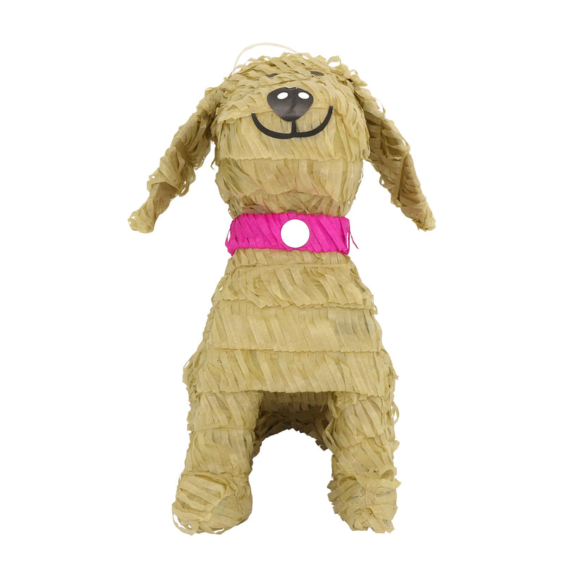 Lutema LTMBeige W/Pink Collar Pup Pinata-276 Mexican Handcrafted