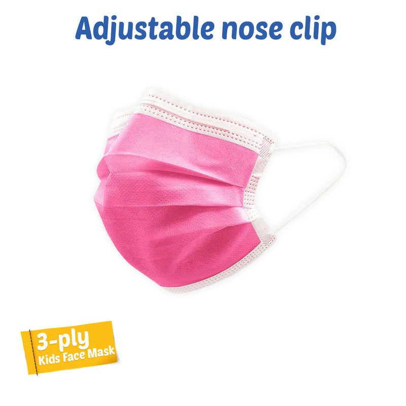 MI Technologies Inc LTM3PLYSmlFaceMaskAdultHotPink50-3827 PPE Face Mask - 3ply