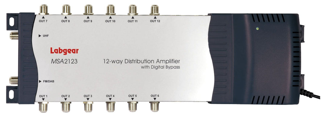 Labgear 12 Way TV Amplifier with Bypass (F-Type)