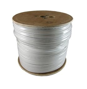 White Satellite Cable RG6 200m Wooden Drum