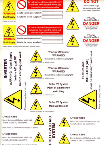 PV FiT 'MCS' Safety Label Kit