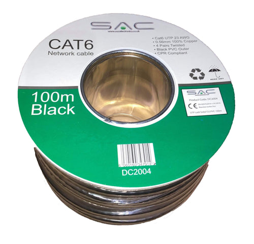 Cat6 UTP Networking Cable Black 100m Solid Copper.