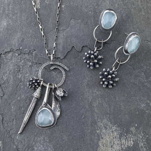 Aquaphase Charm Necklace and mimosa blossom earrings