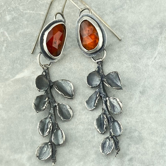 Hessonite Garnet and Cotoneaster Earrings