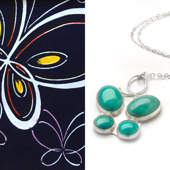 Charise Randell- Flutter Necklace yukata jewelry show silver and turquoise butterfly pendant