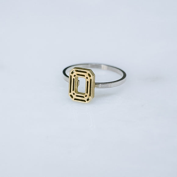 Emerald Cut Brass and Silver Ring