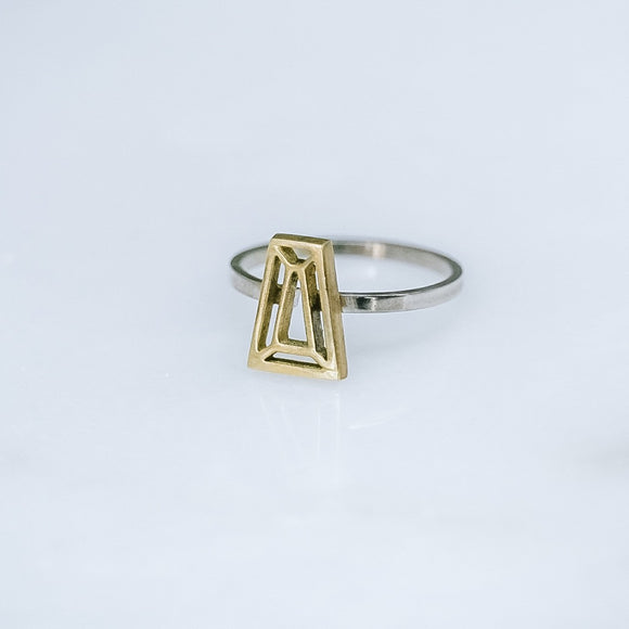 Trapeze Cut Brass and Silver Ring