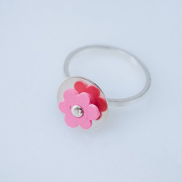 Pink Lego Flower and Silver Ring