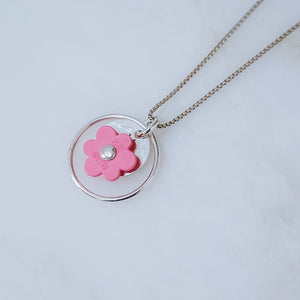 Pink Lego Flower and Silver Necklace