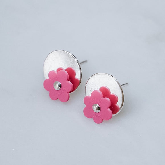 Pink Lego Flower and Silver Earrings