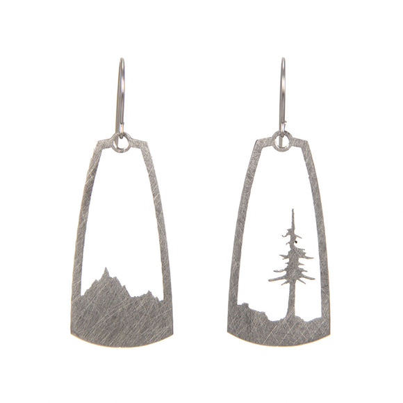 Stainless Steel Mountain and Tree Earrings