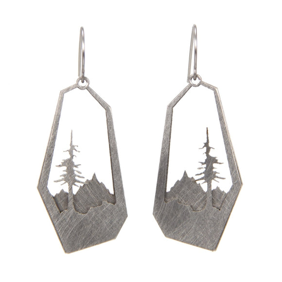 Layered Tree and Mountain Earrings