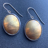 Brass and Silver Engraved Mountain Earrings