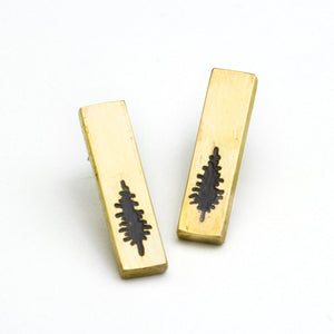 Brass Tree Post Earrings