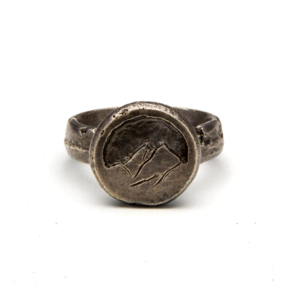 Hand-Carved Silver Mountain Ring