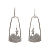 Layered Mountain and Conifer Tree Silhouette Earrings