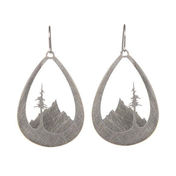 Layered Stainless Steel Mountain and Tree Earrings