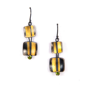 "Oxidized Sterling Silver and 24K Gold ""New York III"" Dangle Earrings with Tourmaline"