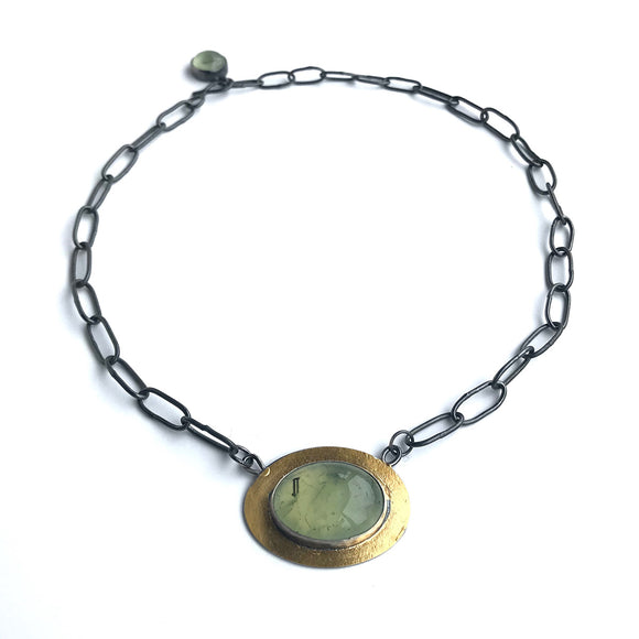 Prehnite Necklace in Silver and 24k Gold handmade chain