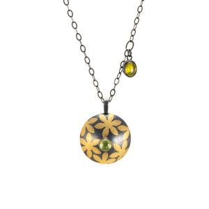 Pillow-Bead Pendant with 24K Flower Pattern and Peridot silver