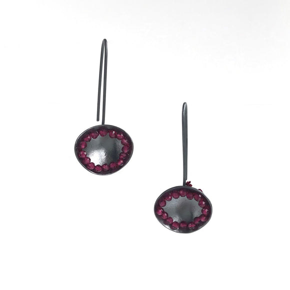 Purple Beaded Silver Earrings sterling