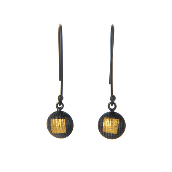 Oxidized Lentil Earrings with Gold