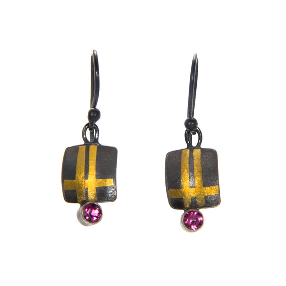 Gold Keum-Boo and Garnet Earrings
