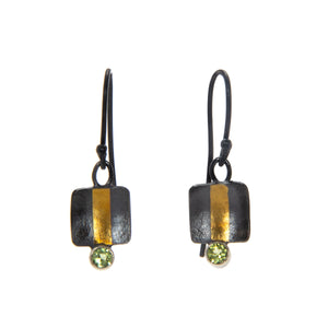 Gold Keum-Boo and Peridot Earrings
