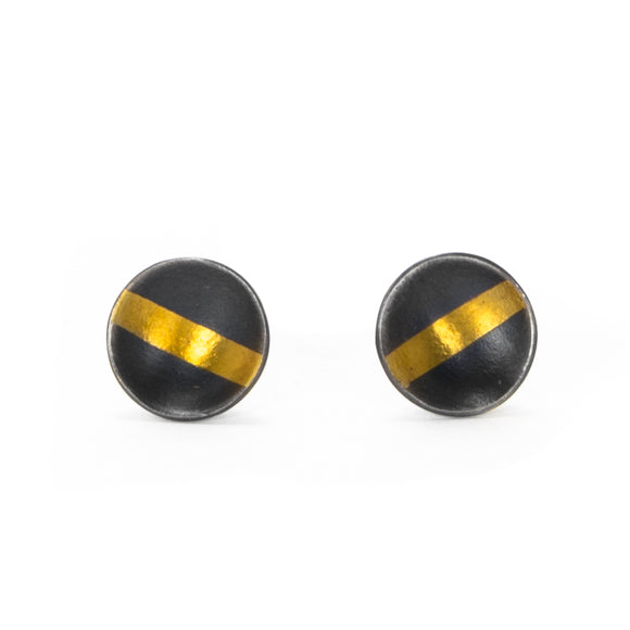 Oxidized Silver and Gold Earrings