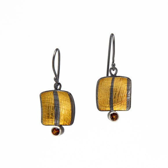 Fire Citrine and Gold Keum Boo Earrings