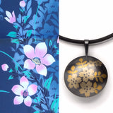 Carolina Andersson - Cherry Blossoms silver and gold pendant keumbo yukata cotton fabric