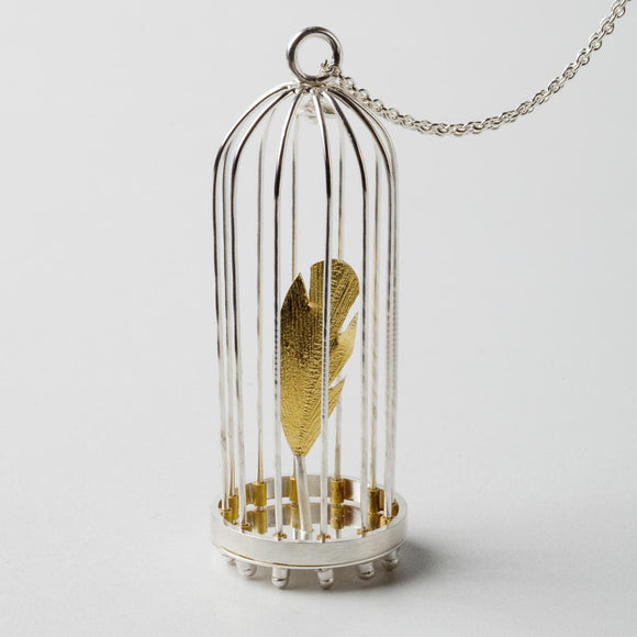 Canary in a Coal Mine Sterling Silver and Gold Pendant