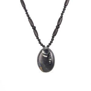 Picasso Jasper Necklace black lava horn agate