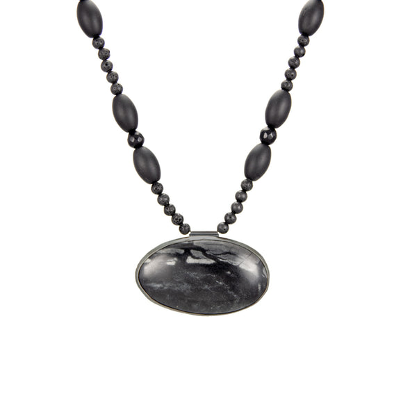Picasso Jasper and Black Lava Necklace Agate