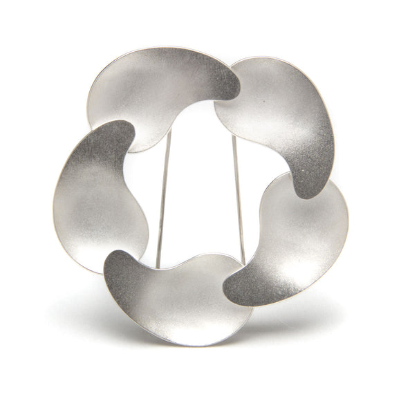 Modern Kidney Pool Spiral Brooch